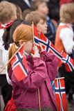 Oslo, Norway - May 17, 2010: National day in Norway. Norwegians at traditional celebration and parade on Karl Johans Gate street Royalty Free Stock Image