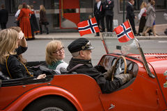 Oslo, Norway - May 17, 2010: National day in Norway. Norwegians on traditional celebration and parade on Karl Johans Gate street Royalty Free Stock Photo