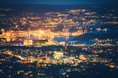 Oslo Norway at Night Royalty Free Stock Photography