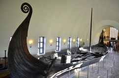 OSLO, NORWAY - NOVEMBER, 17: Viking drakkar in Viking museum in Oslo, Norway on November 17, 2013 Stock Image