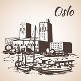 Oslo, Norway - Oslo's City Hall and Waterfront. Sketch Royalty Free Stock Photography
