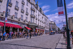 OSLO, NORWAY: People walking around in Karl Johans Gate, the famous street of Oslo Royalty Free Stock Images