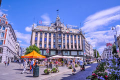 OSLO, NORWAY: People walking around in Karl Johans Gate, the famous street of Oslo Royalty Free Stock Photo