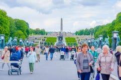 OSLO, NORWEGIA - 8 LIPIEC, 2015: Turyści cieszy się a Zdjęcia Stock