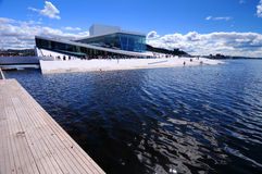Oslo Opera House. Seen over Oslofjord, Oslo, Norway royalty free stock photo
