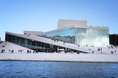 Oslo Opera House. OSLO, NORWAY - AUGUST 2, 2015: People visit Oslo Opera House in Norway. The building designed by Snohetta received Mies van der Rohe Award in royalty free stock images