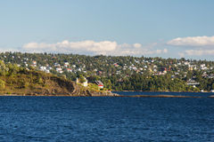Oslo panorama from fjord royalty free stock photography