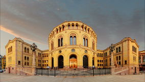 Oslo parliament - Time lapse stock video footage