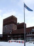 Oslo Radhuset im Winter lizenzfreie stockfotografie