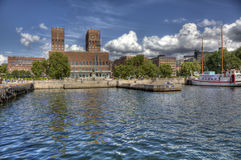 Oslo Radhuset from sea (HDR). View to Oslo, Norway Radhuset (city hall) from the sea (HDR Stock Photography