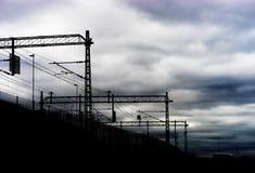 Oslo railroad communications silhouette background. Hd Stock Photo