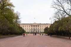 Oslo royal palace, view from parkway alley boulevard avenue with stock photography