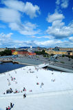 Oslo Scenery. A birdseye view of Oslo from the Opera House in Norway Royalty Free Stock Photography
