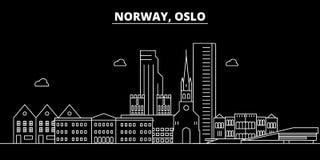 Oslo-Schattenbildskyline Norwegen- - Oslo-Vektorstadt, norwegische lineare Architektur, Gebäude Oslo-Reiseillustration vektor abbildung