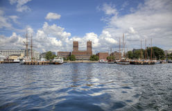 Oslo from the sea (HDR). View to Oslo Radhuset (city hall) from sea in HDR Stock Photo