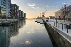Oslo seaside harbor with crane terminal Royalty Free Stock Image