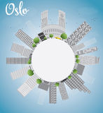 Oslo Skyline with Grey Building, Blue Sky and copy space Royalty Free Stock Photo