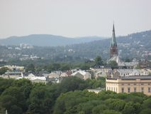Oslo skyline with Kampen Church and hills Royalty Free Stock Photo