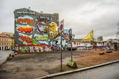 Oslo slums graffiti. Bright graffiti on the wall in Oslo slums Stock Photos