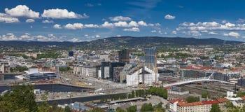 Oslo som är i stadens centrum, Bjoervia Bjørvika Norge arkivfoton