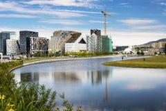 Oslo som är i stadens centrum, Bjoervia Norge Arkivbild