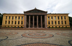 Oslo university. The building of Oslo University, Norway, wide angle perspective, cloudy day Stock Images
