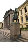 Oslo University & Statue. External facade of Oslo University, Norway Royalty Free Stock Photo