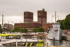 Oslo urząd miasta Radhuset, Norwegia Obrazy Royalty Free