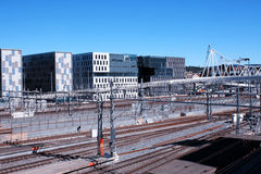 Oslo view with train station and modern buildings. They are some. Of the new buildings in the neighbourhood of Bjorvika, the station is the biggest of Norway Royalty Free Stock Photos