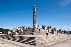 Oslo - Vigeland park. OSLO, NORWAY - JULY 16: Visitors enjoying the statues created by Gustav Vigeland in the popular Vigeland park in Oslo, Norway on July 16 Royalty Free Stock Photos