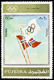 Oslo 1952, Winter Olympics 1924-1972, Advertising posters serie, circa 1972. MOSCOW, RUSSIA - MARCH 23, 2019: Postage stamp printed in United Arab Emirates stock photography
