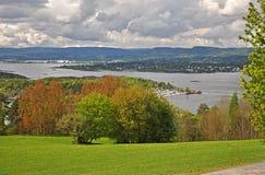 Oslofjord met een jachthaven en een weelderig groen stock fotografie