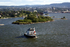 Oslofjord and Oslo city. Some isles in the Oslofjord and Oslo city in the background Stock Images