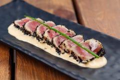 Osmaleni Ahi tuńczyka stki Zdjęcia Stock