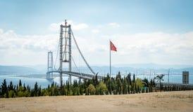 Osman Gazi Bridge i Kocaeli, Turkiet Fotografering för Bildbyråer
