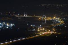 Osman Gazi Bridge i Kocaeli, Turkiet Materiel arkitektur royaltyfri bild