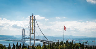 Osman Gazi Bridge in Kocaeli, Turkey. Kocaeli, Turkey - September 03, 2016: Newly constructed Osman Gazi Bridge which is crossing the sea of Marmara from Kocaeli royalty free stock photography