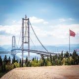 Osman Gazi Bridge in Kocaeli, Turkey. Kocaeli, Turkey - September 03, 2016: Newly constructed Osman Gazi Bridge which is crossing the sea of Marmara from Kocaeli Stock Image