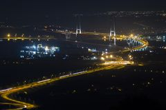 Osman Gazi Bridge in Kocaeli, Turkije Voorraad, architectuur royalty-vrije stock foto