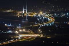 Osman Gazi Bridge in Kocaeli, Turkije Voorraad, architectuur royalty-vrije stock afbeeldingen
