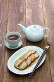 Osmanthus flavored, stuffed lotus root with glutinous rice, chinese food stock photo