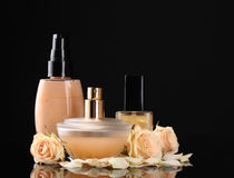 Сosmetics with roses Royalty Free Stock Photography