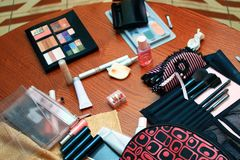 Ð¡osmetics. The various cosmetics lies on a table stock images