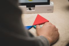 Leicester, Leicestershire, United Kingdom. 22 February 2019. School age kids learning and enjoying on Osmo, a platform using iPads. Osmo is a line of royalty free stock photo