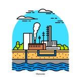 Osmotisches Kraftwerk, blaue Energie Salzigkeitssteigung Elektrizitätskraftwerk oder elektrisches Elektrizitätswerk Industriegeb? vektor abbildung