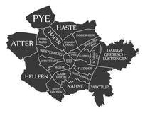 Osnabruck miasta mapa Niemcy DE przylepiał etykietkę czarną ilustrację Obrazy Stock