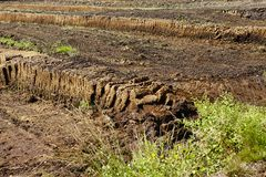 Osnabruecker Land (Germany) - Harvesting of peat Stock Photos