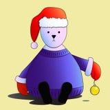 Oso blanco en el sombrero de Papá Noel rojo Imagenes de archivo
