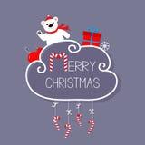 Oso blanco, giftbox, copo de nieve, bola Tarjeta de la Feliz Navidad bastón de caramelo colgante Línea de la rociada con el arco  Fotos de archivo