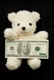 Oso con el billete de banco Fotos de archivo